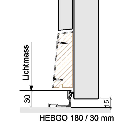 Bodenabschlüsse Aussentüren – HEBGO 180 / 30 mm