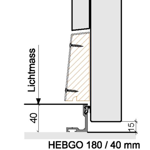 Bodenabschlüsse Aussentüren – HEBGO 180 / 40 mm